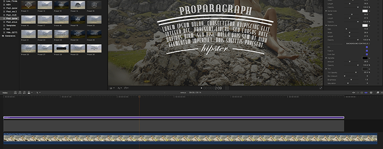 Final Cut Pro X Plugin ProParagraph: Hipster from Pixel Film Studios