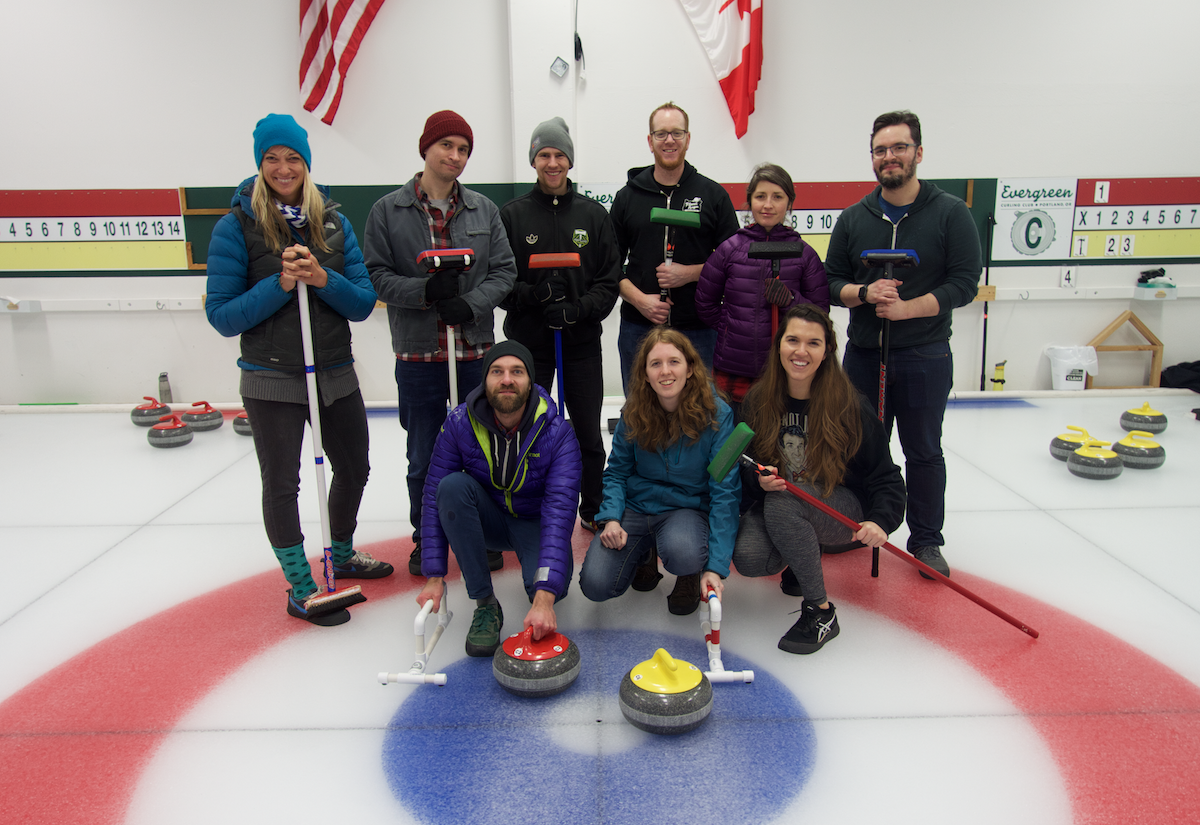 Planet Argon curling team outing in Portland