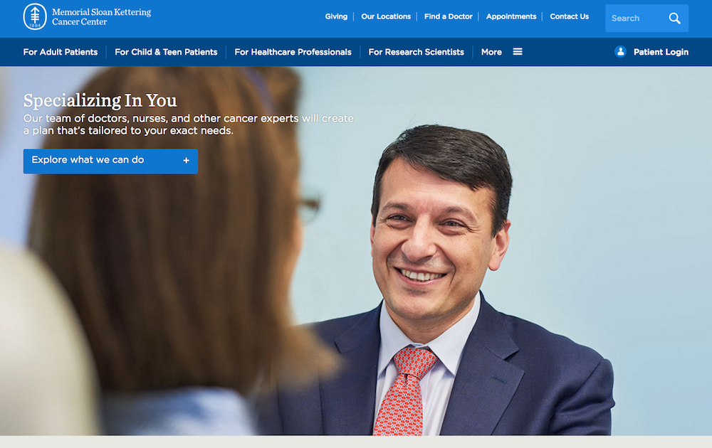 Memorial Sloan Kettering website design