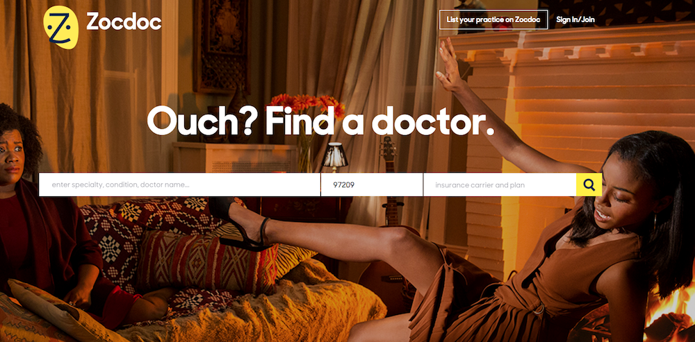 Zocdoc medical homepage design