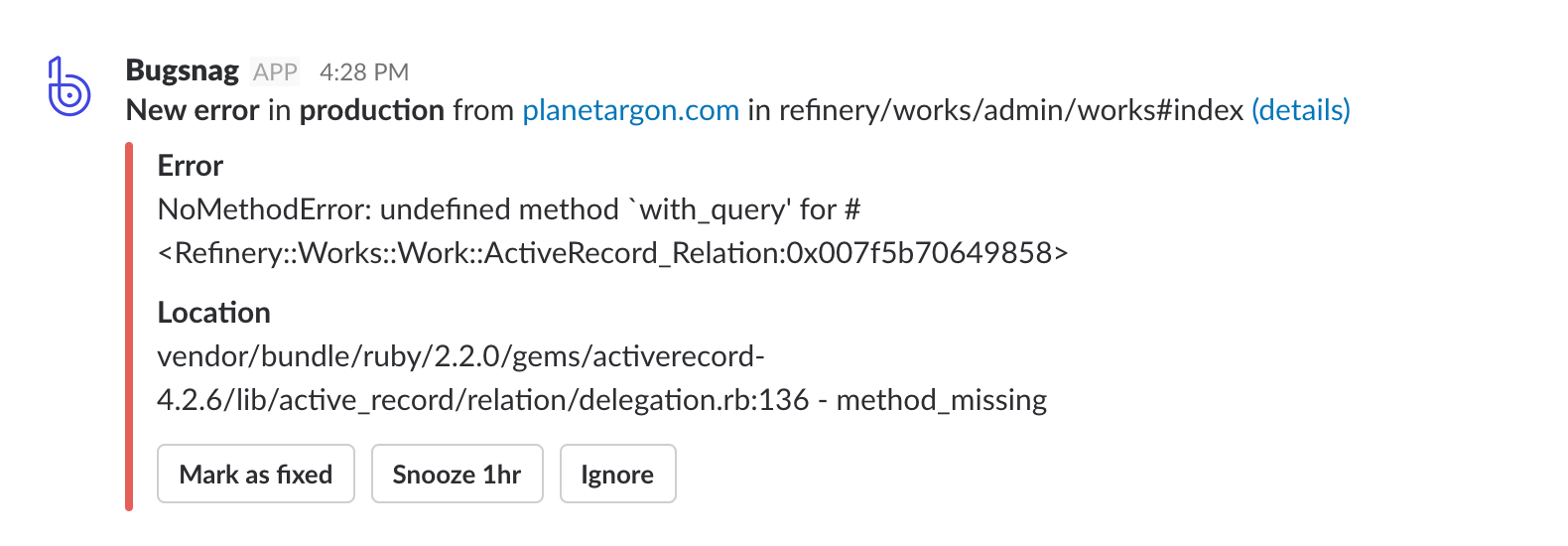 Bugsnag slack integration showing error