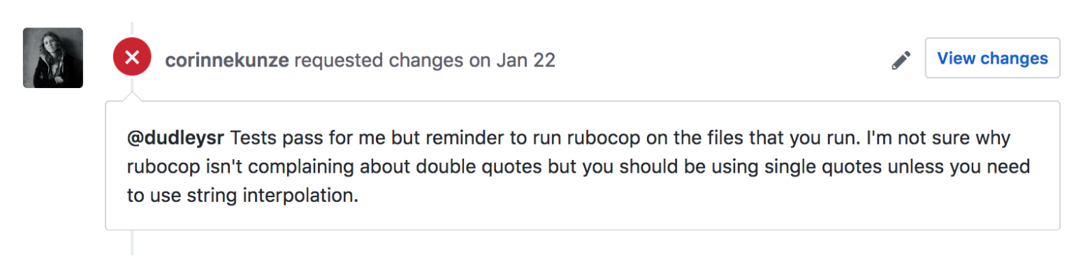 Pull request comment about Rubocop