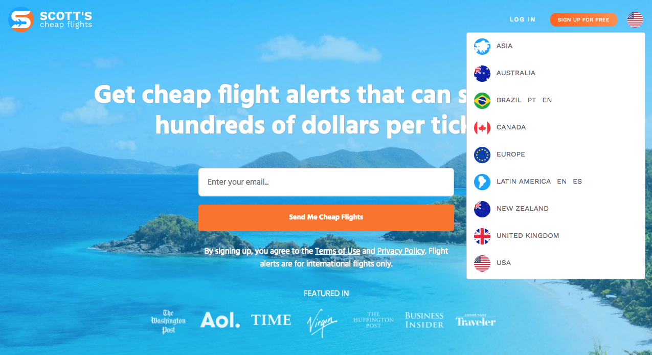 Scott's Cheap Flights new internationalized home page