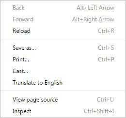 Right click menu for Chrome