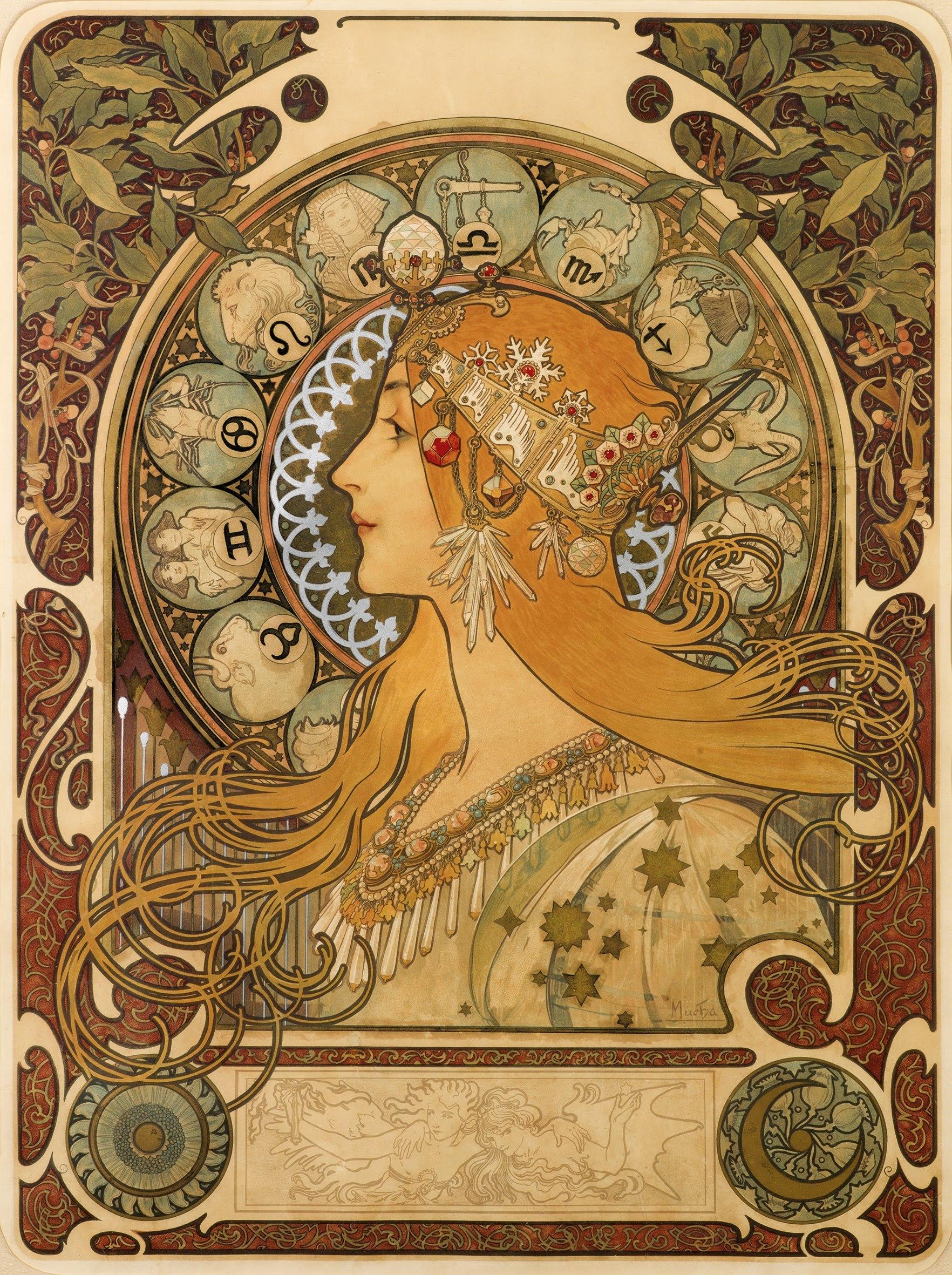1 Zodiac By Alphonse Mucha 1896