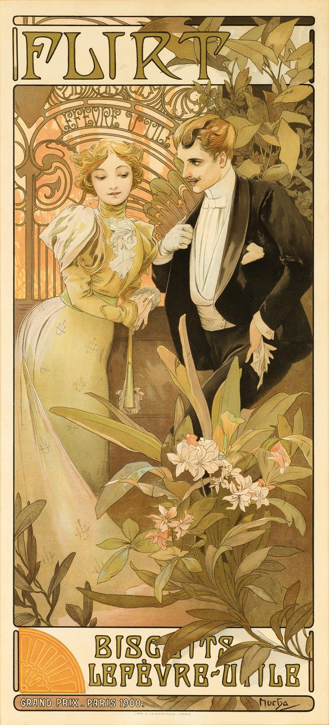 5 Flirt By Alphonse Mucha 1900