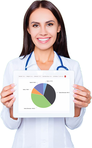 Woman holding graph