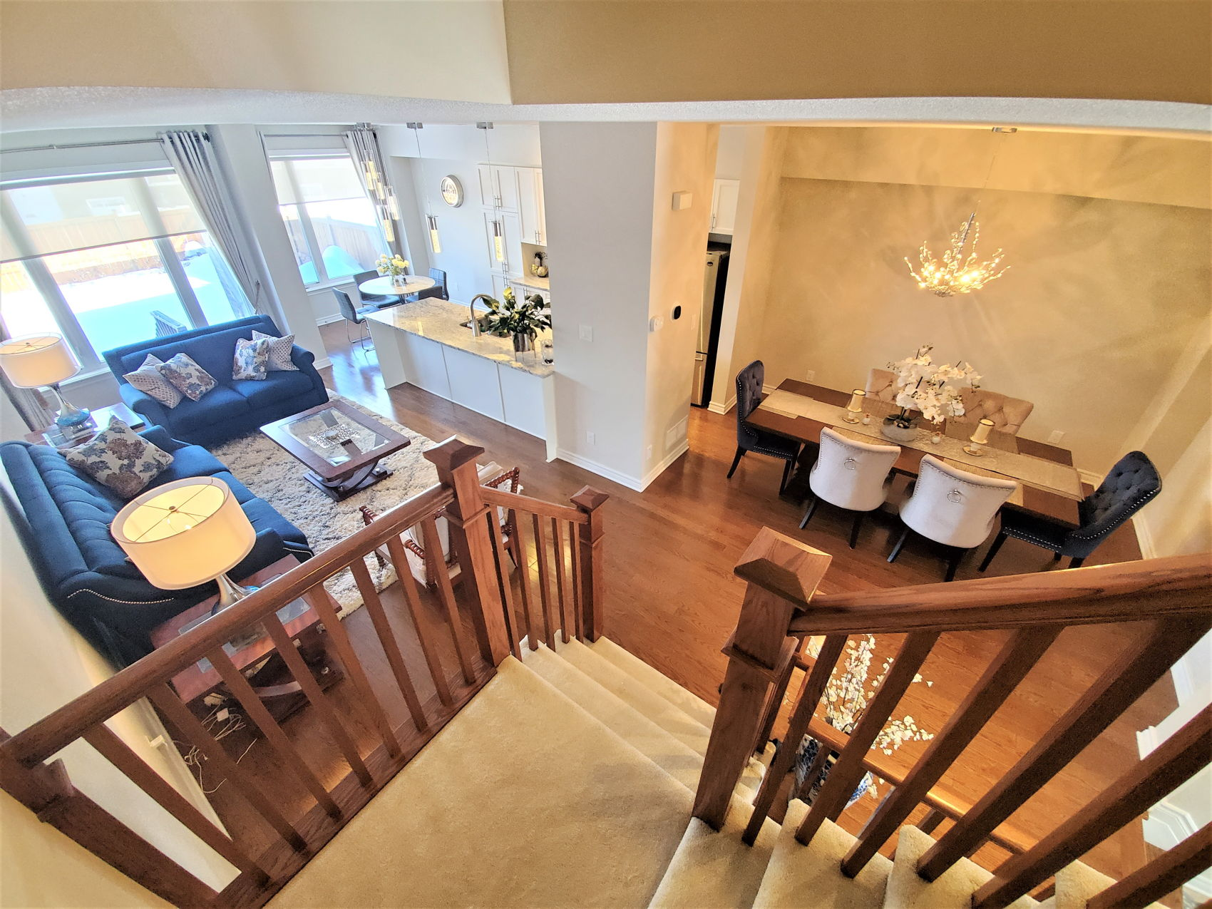 164 Hawkeswood INTERIOR GREAT ROOM KITCHEN FROM STAIRCASE.jpg