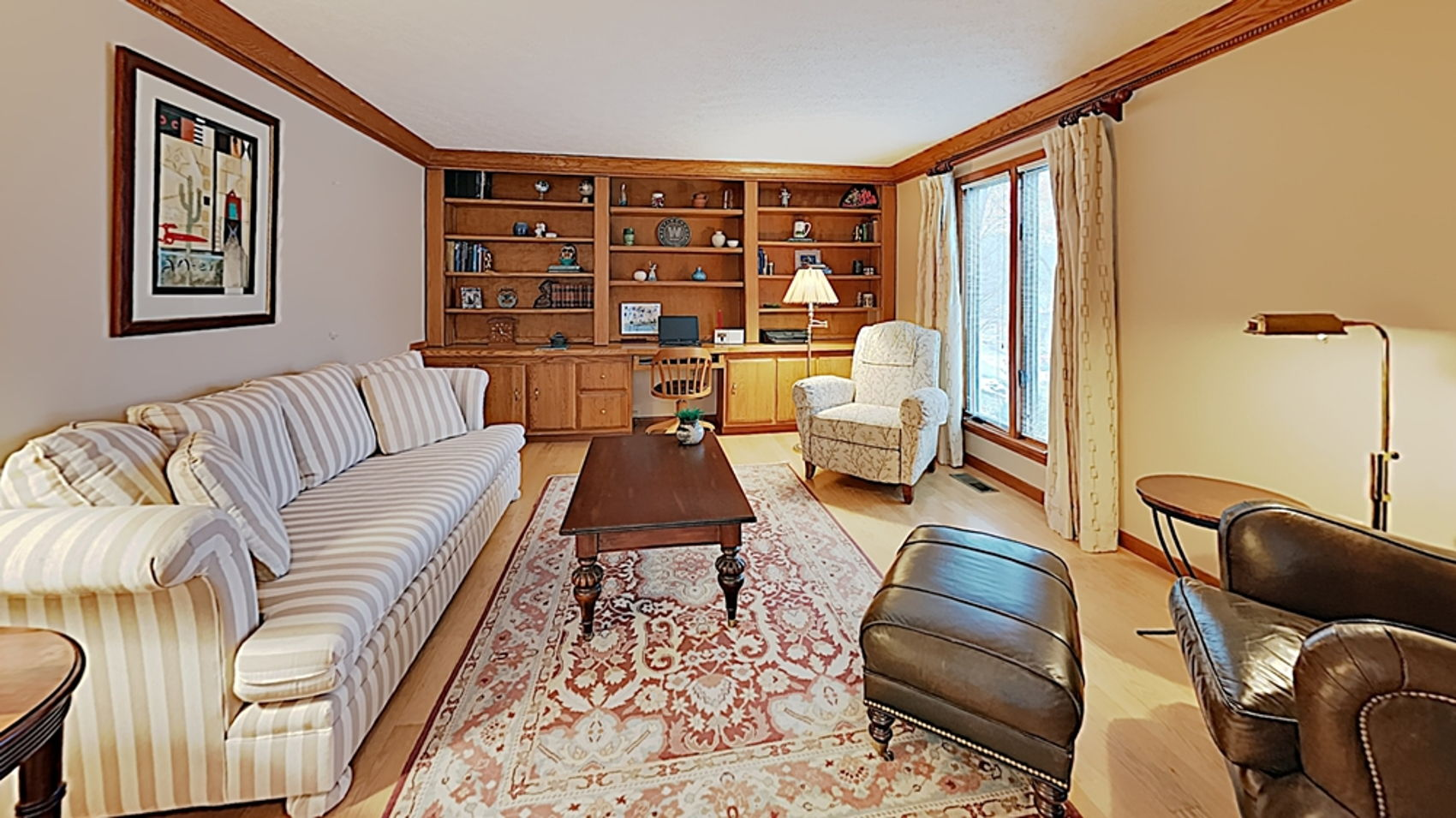 Living room with built-ins