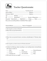 Teacher questionaire
