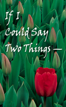 If i could say two things