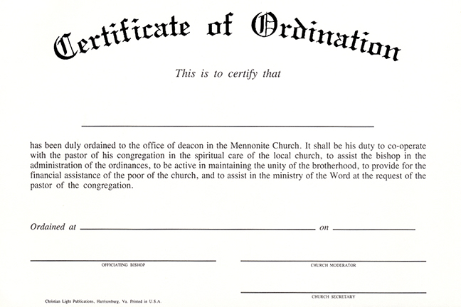 Christian light publications for Deacon ordination certificate