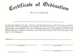 Certificate of ordination deacon