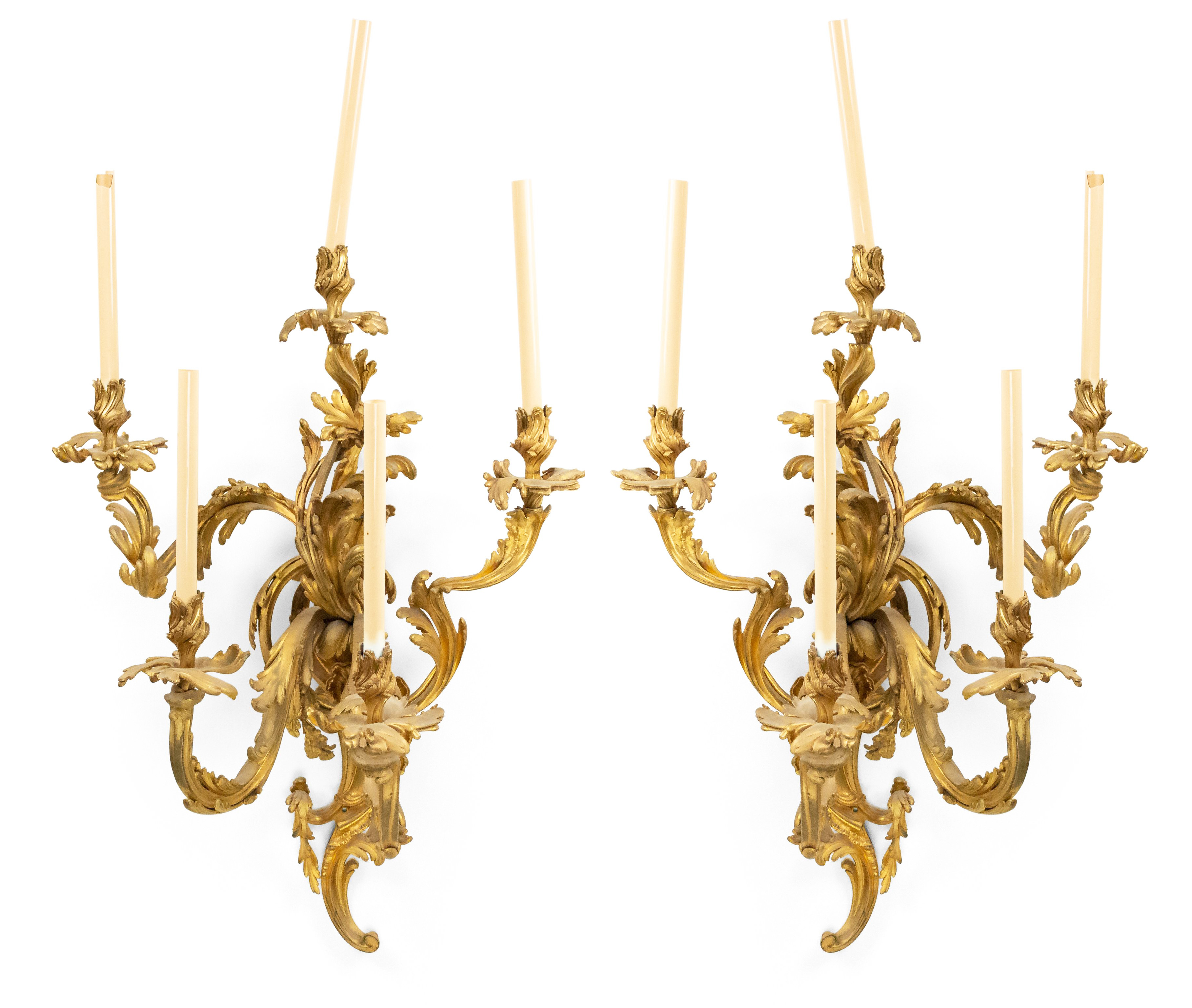French Louis Xv Bronze Dore Large Wall Sconces