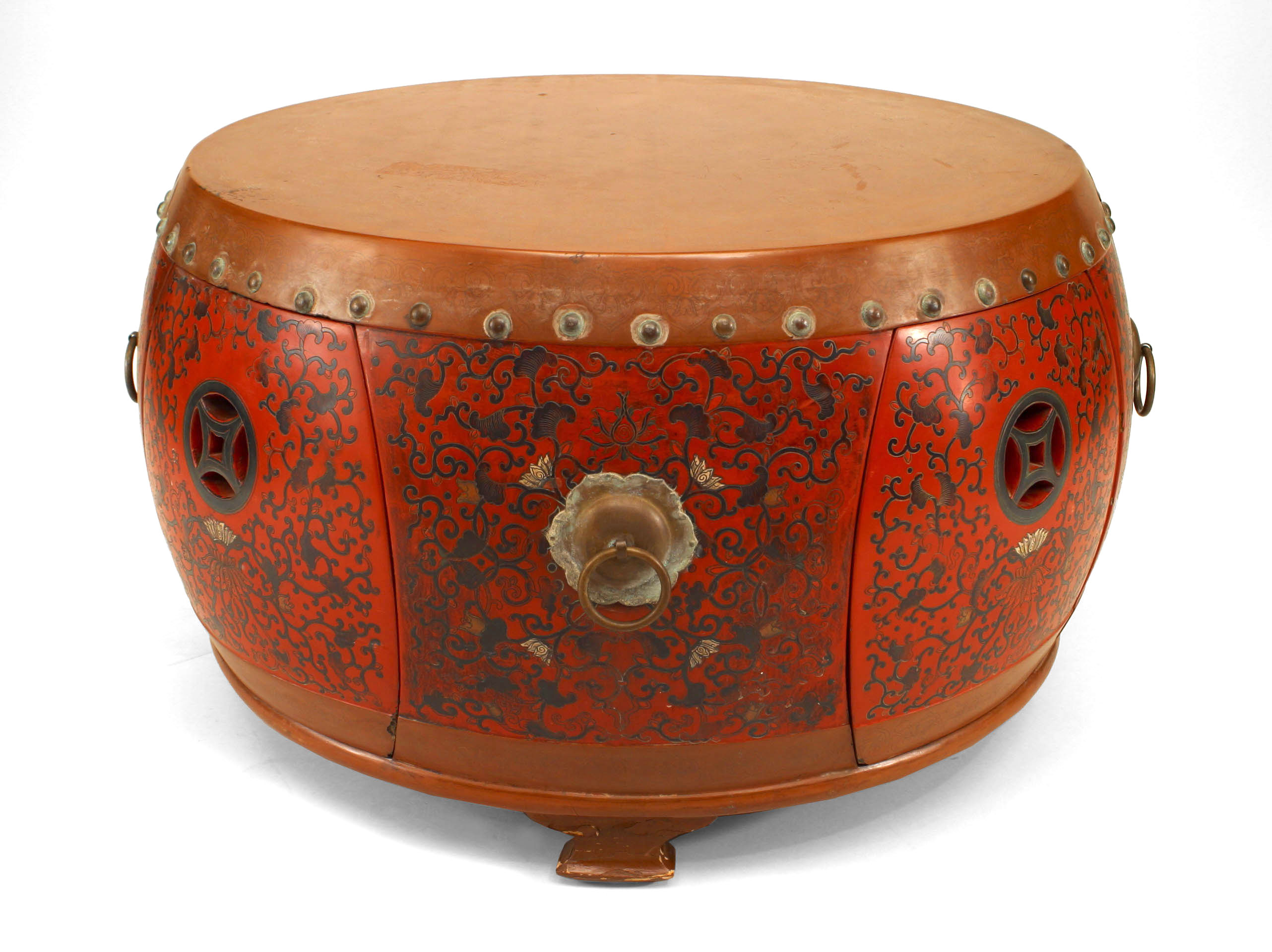 Asian Chinese Coromandel Drum Coffee Table