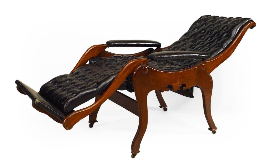 Admirable Victorian Tufted Leather Reclining Easy Chair Newel Inzonedesignstudio Interior Chair Design Inzonedesignstudiocom