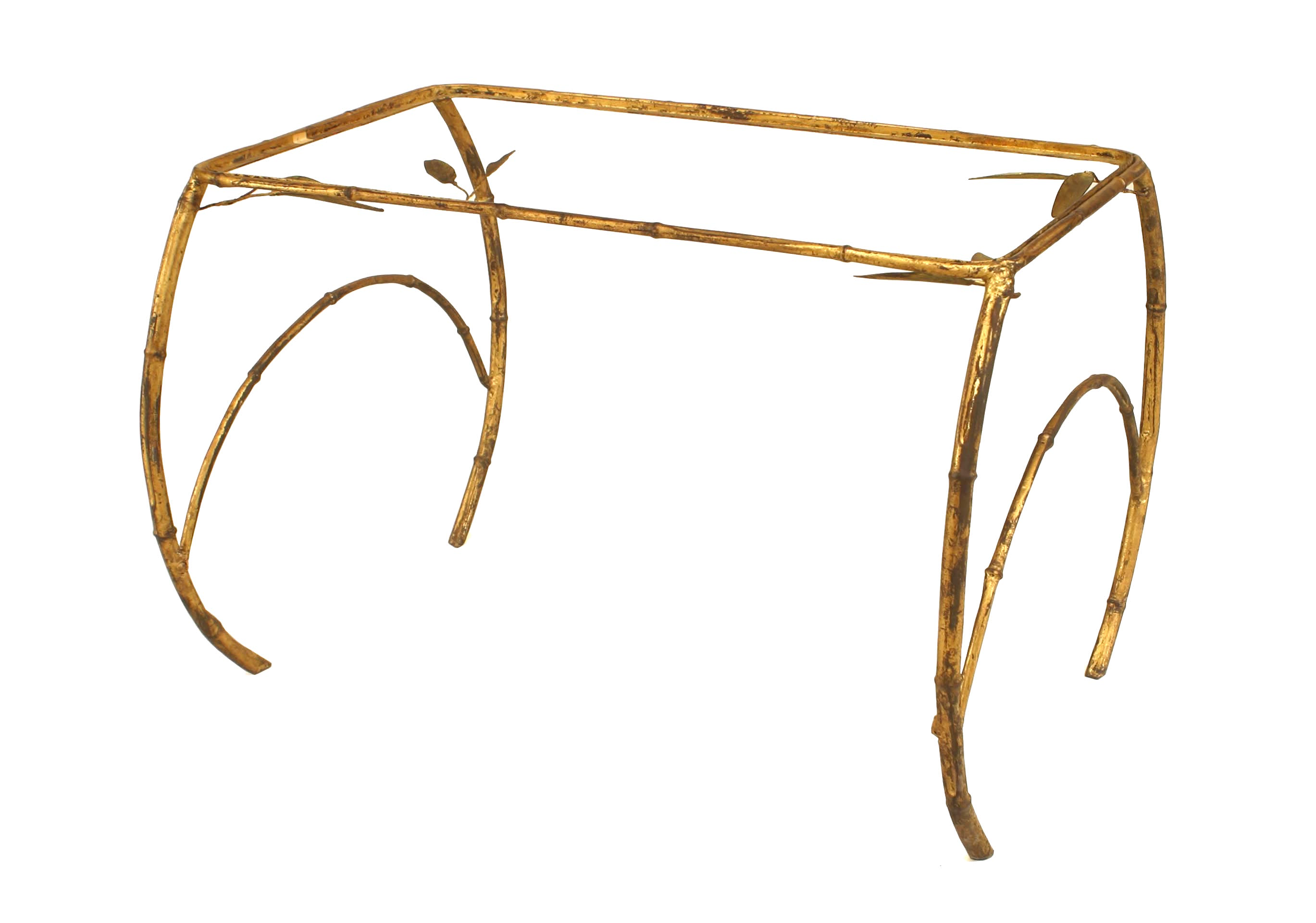 Faux Bamboo S Style Gilt Metal Rectangular Coffee Table With - Bamboo end table glass top