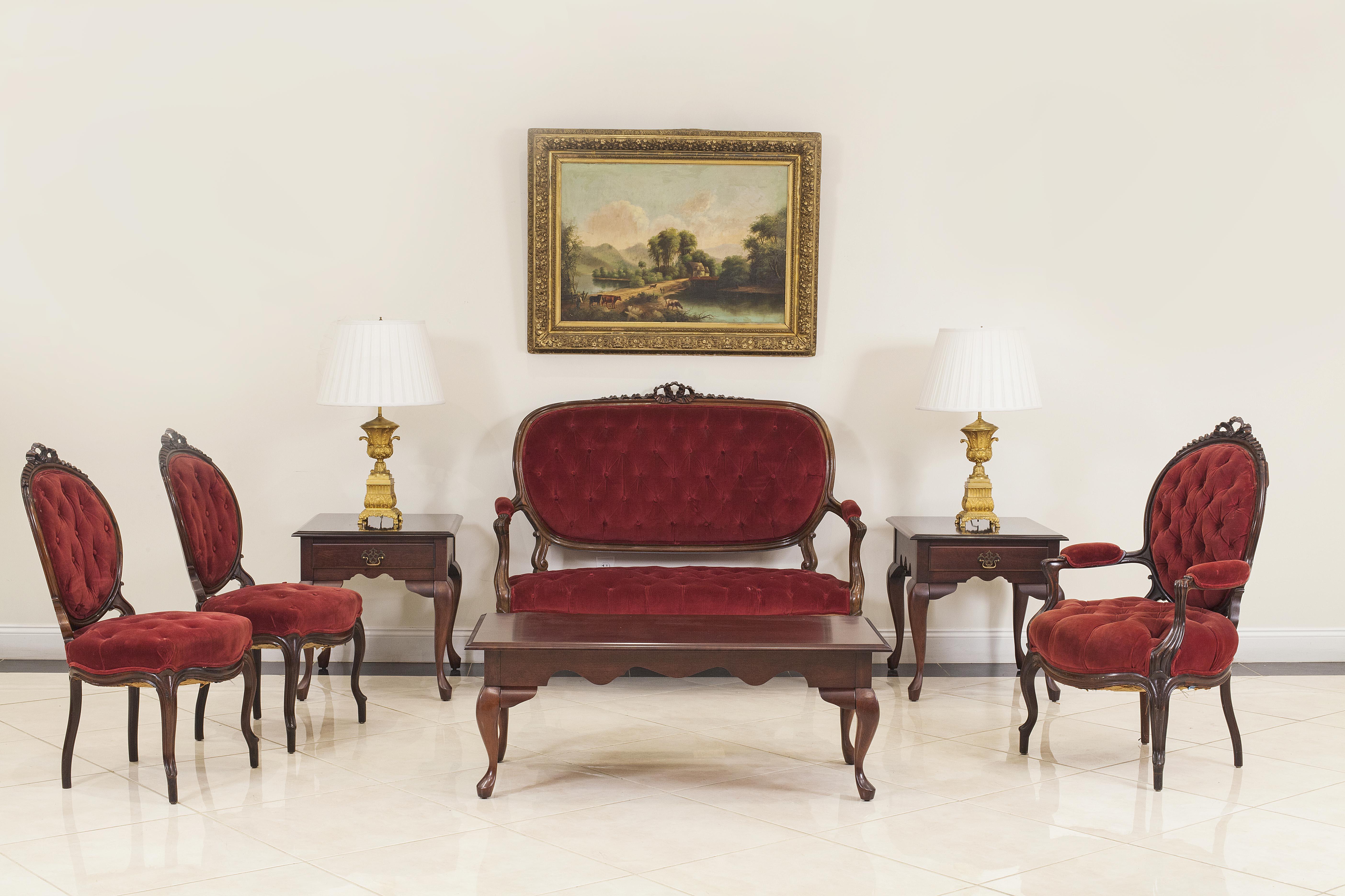 French victorian red velvet living room set | NEWEL