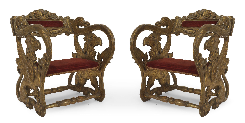 Super Italian Renaissance Gilt Jester Arm Chairs 1 Newel Pdpeps Interior Chair Design Pdpepsorg