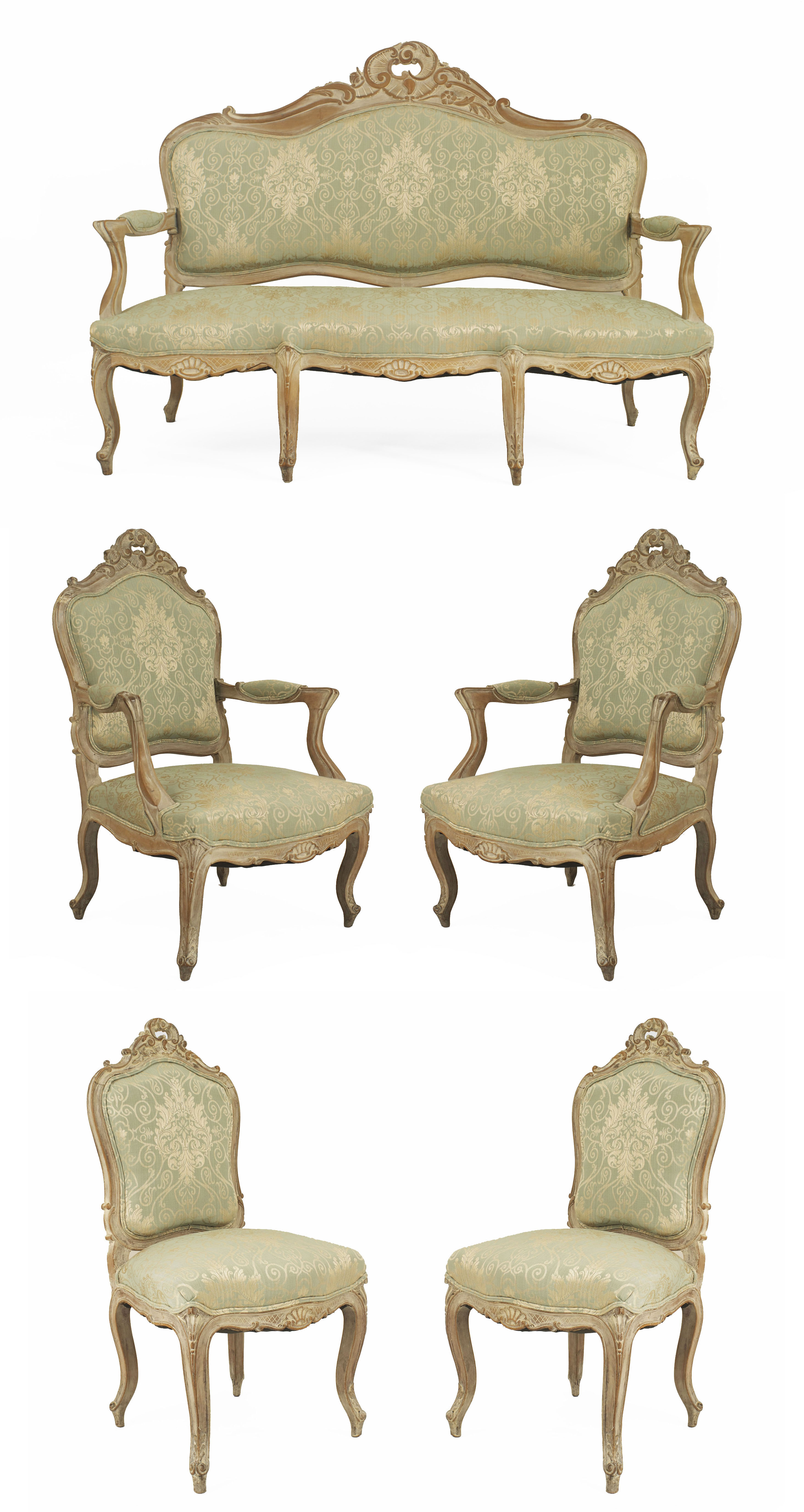 French Louis Xv Green Damask Living Room Set Newel