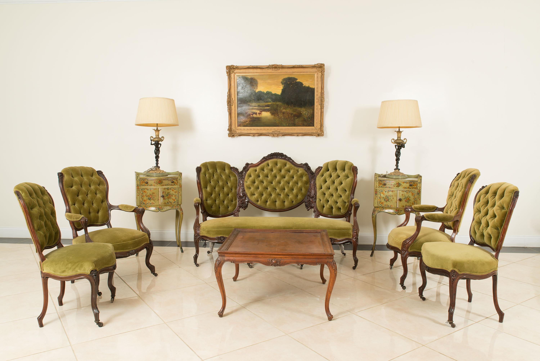 American victorian green velvet living room set 1 | NEWEL
