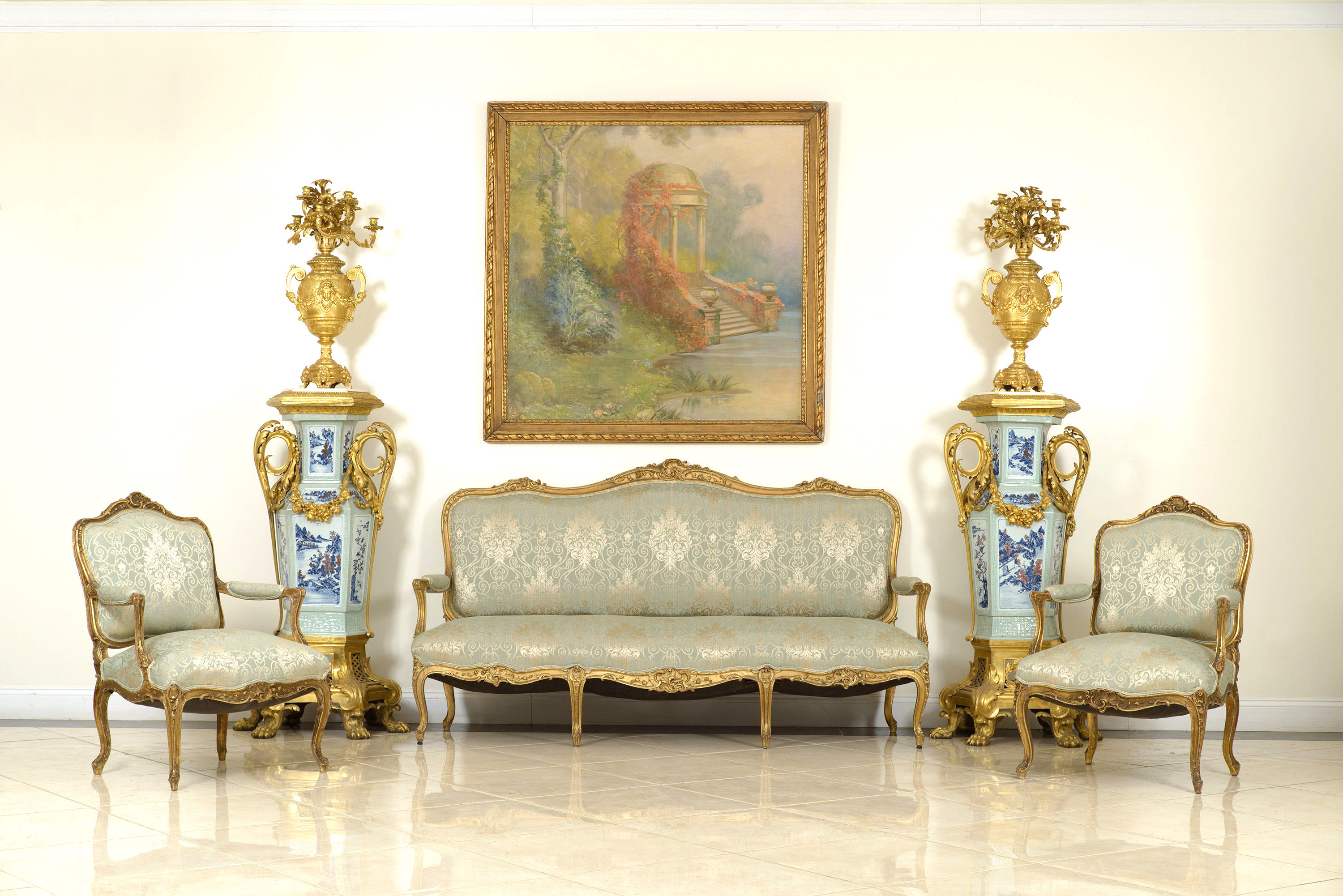 French Louis XV Green Damask Living Room Set