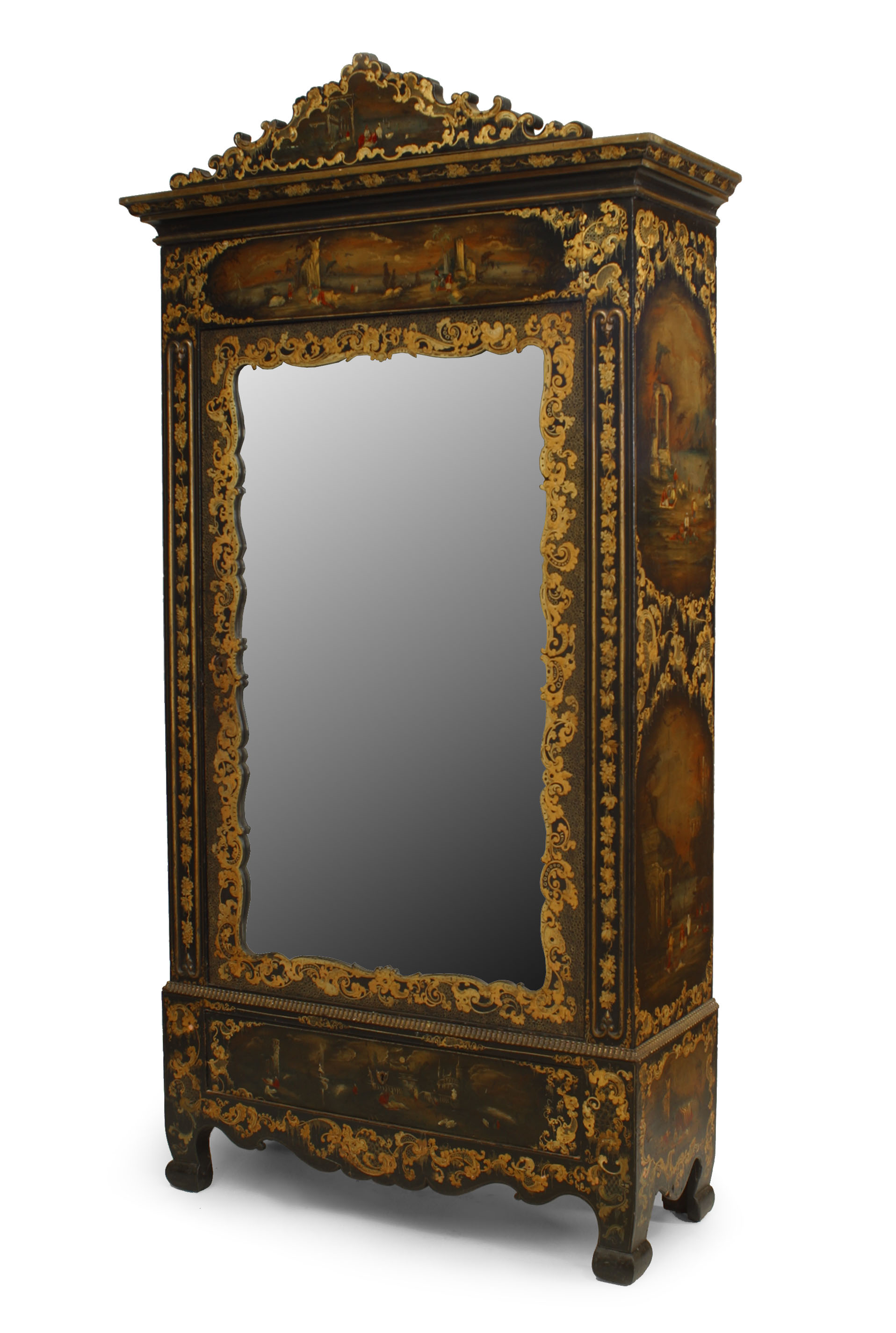 Victorian Black Lacquered Armoire Newel
