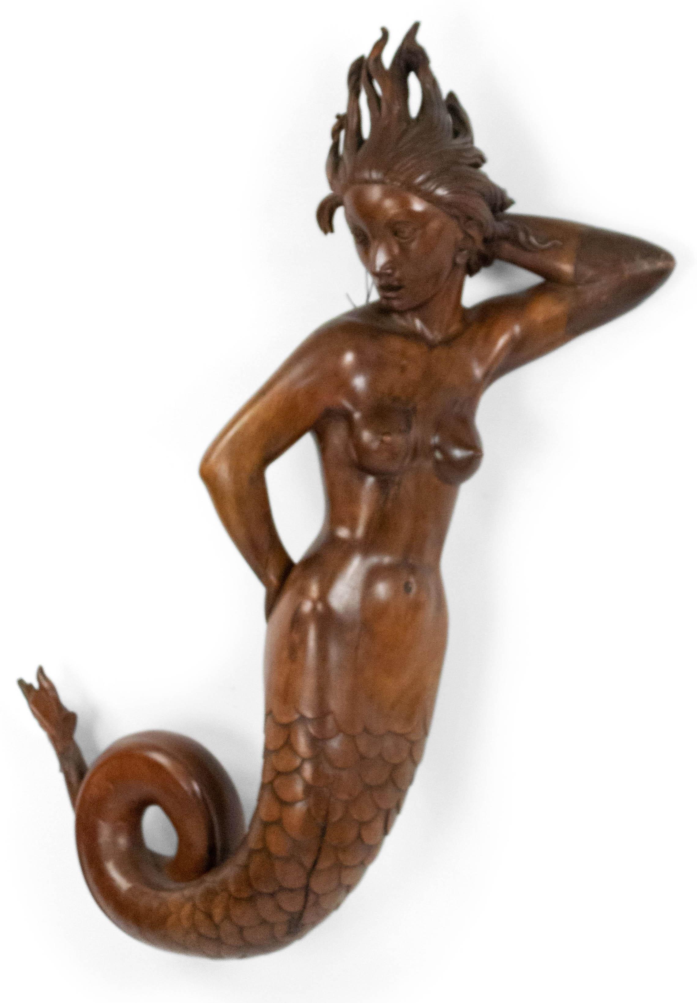 Italian Wooden Mermaid Wall Plaque Newel