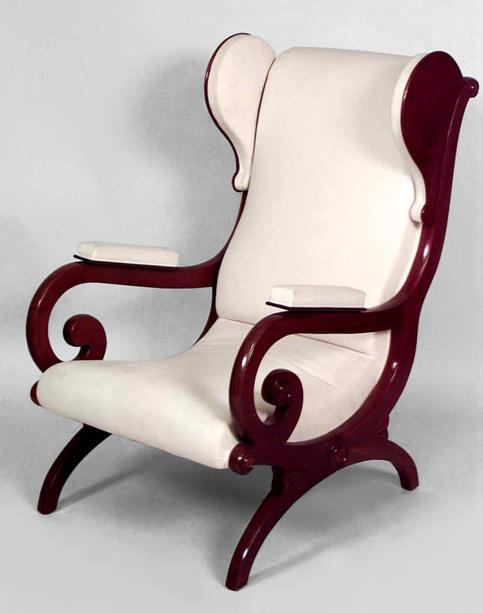 ... Quarter 19th Cent) Mahogany Sleigh Back Wing Chair With Open Scroll  Design Arms With Padded Arm Rests (designed Attr: To KARL FRIEDRICH  SCHINKEL) 035183 ...