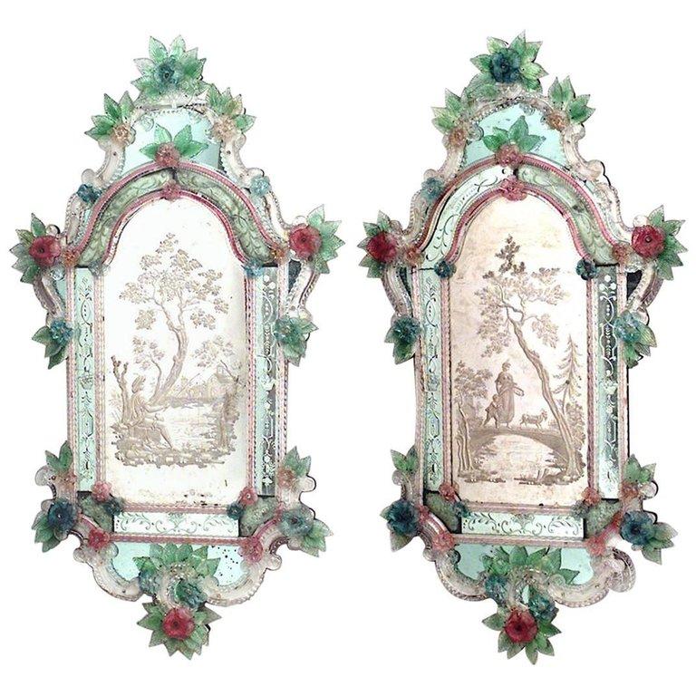 Italian Venetian Murano Glass Wall Mirrors