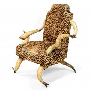 Rustic Continental Horn U0026 Leopard Arm Chair