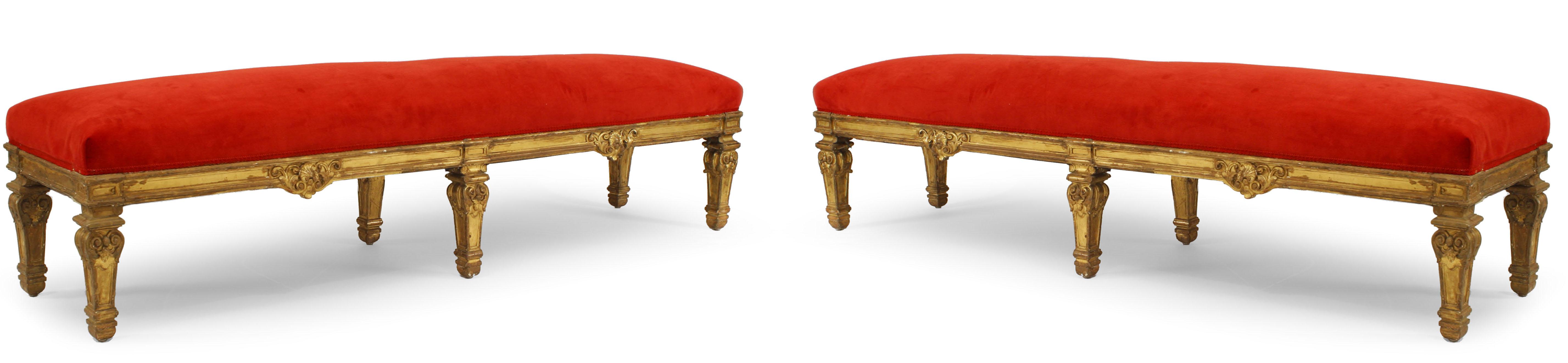 French Louis Xiv Red Velvet Bench