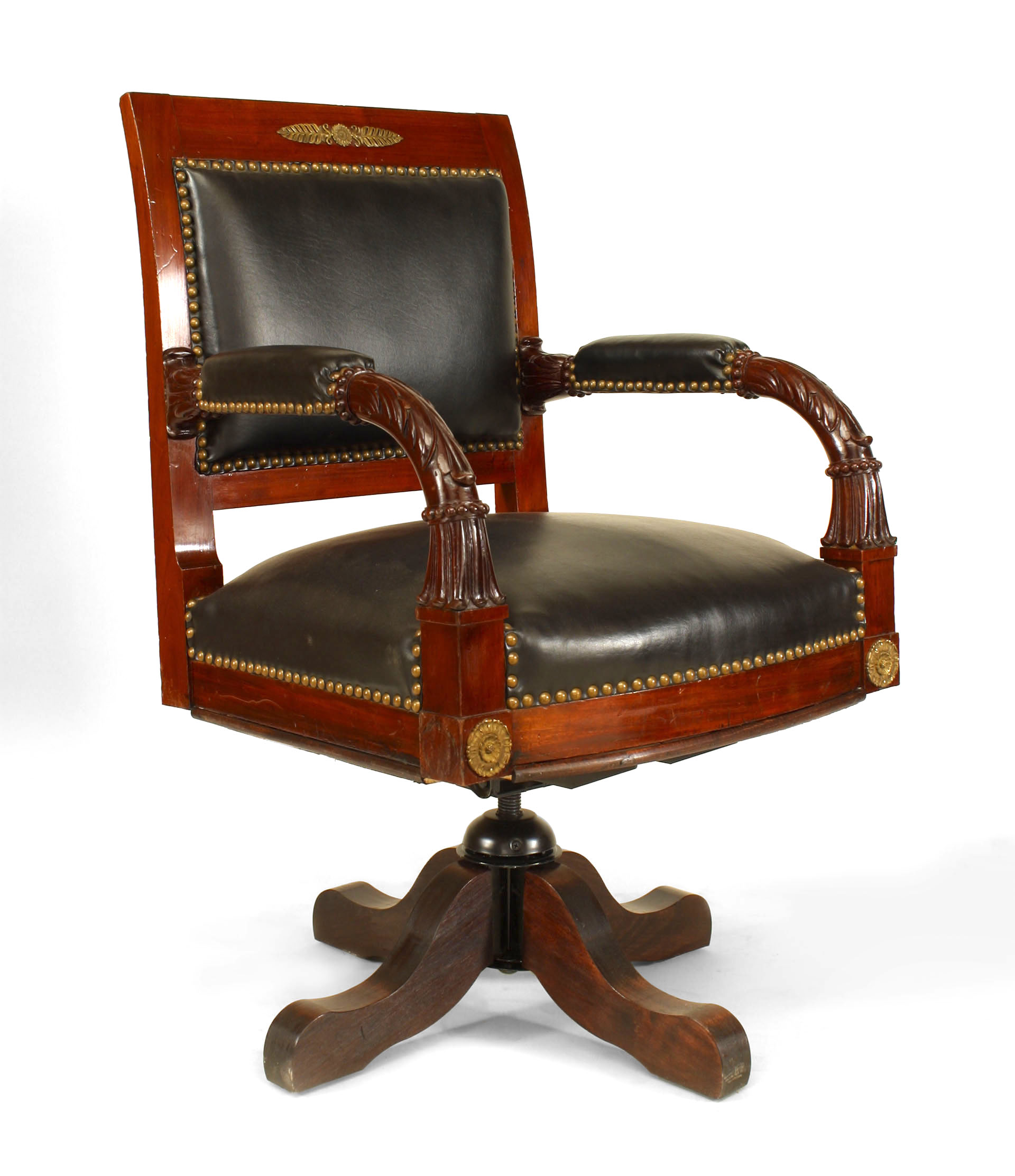 Admirable French Empire Black Leather Swivel Chair 1 Newel Squirreltailoven Fun Painted Chair Ideas Images Squirreltailovenorg