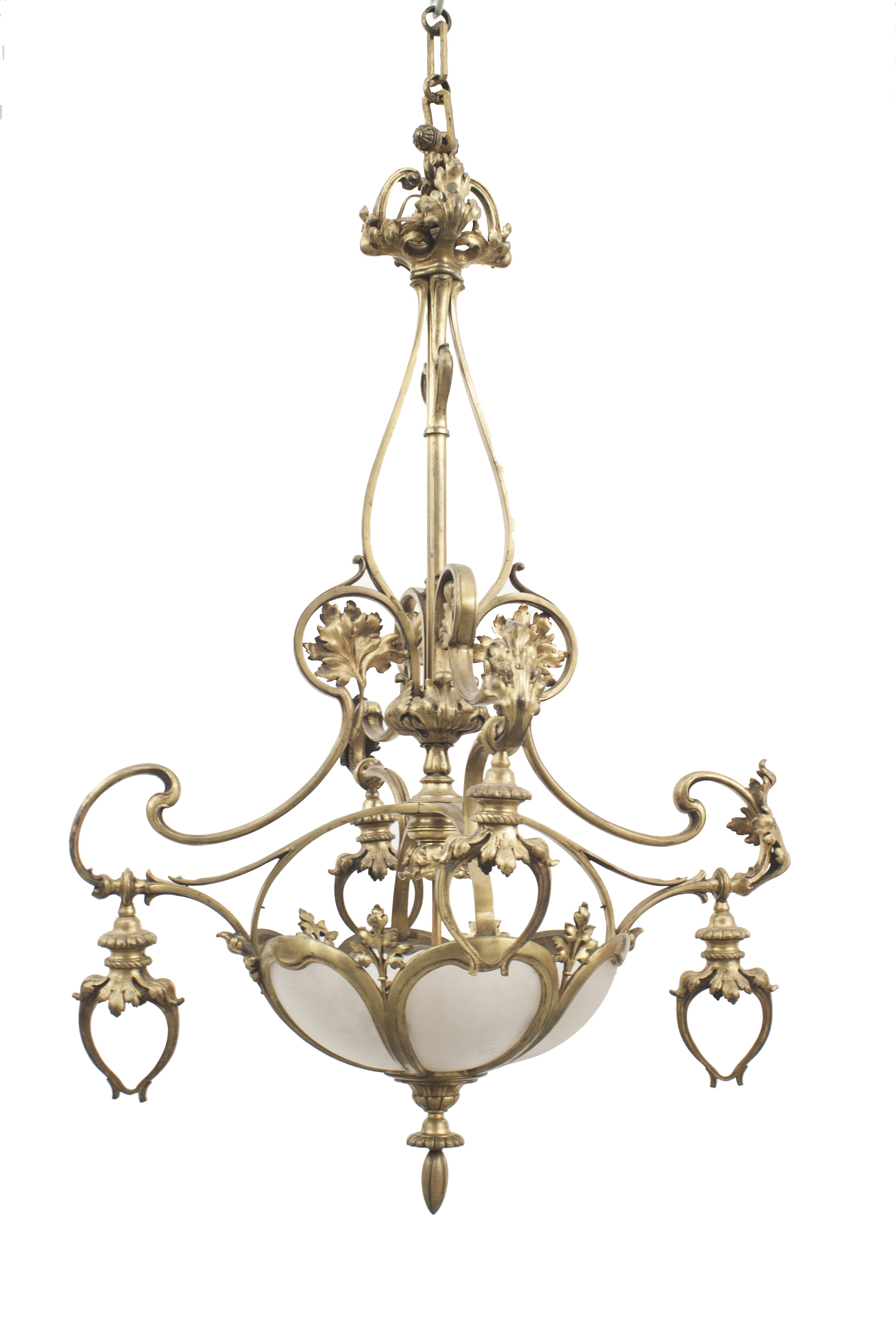 French Art Nouveau Bronze Dore 4 Arm Chandelier With 6 Shaped Frosted Glass Panels