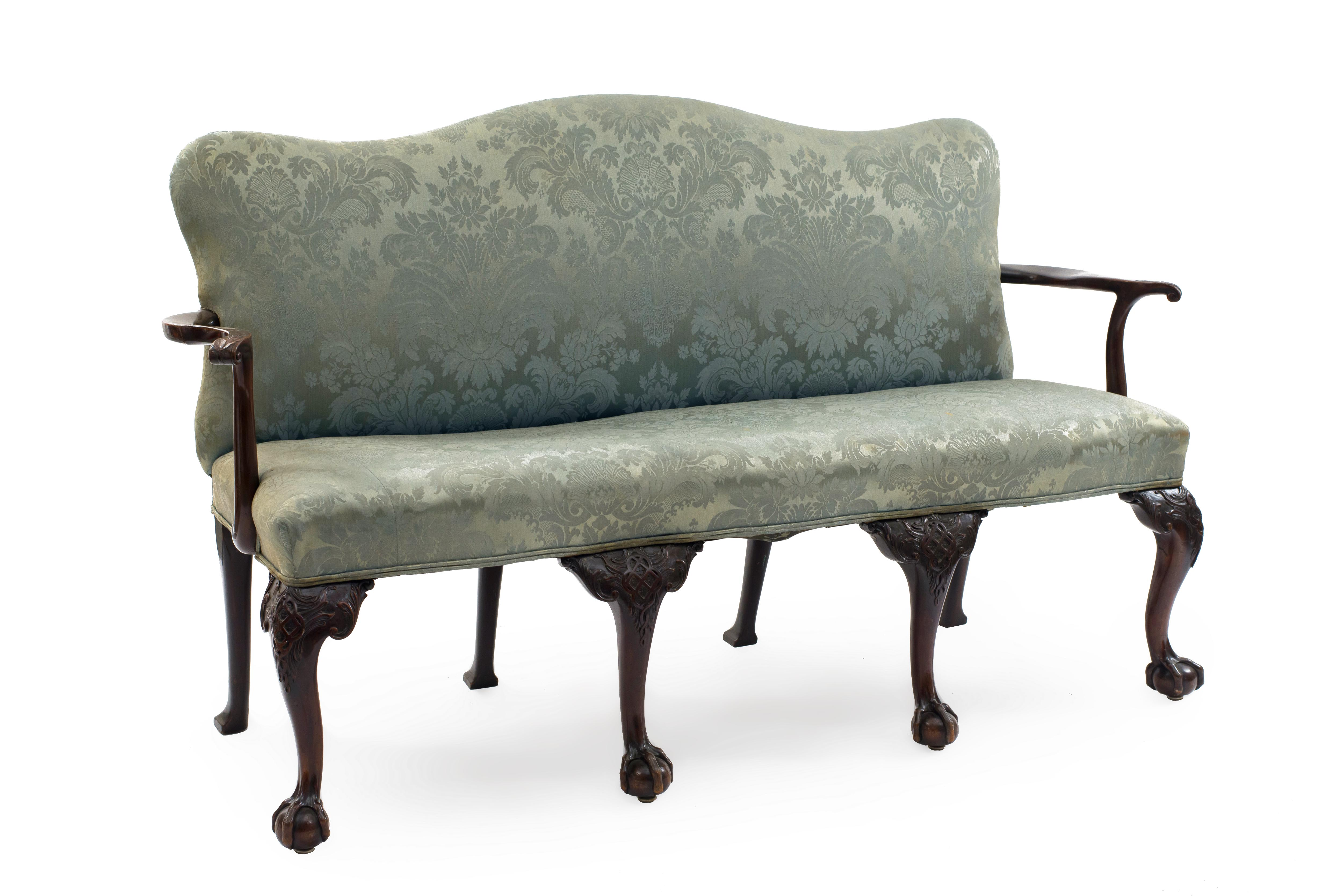 Brilliant English Chippendale Blue Damask Settee Newel Machost Co Dining Chair Design Ideas Machostcouk