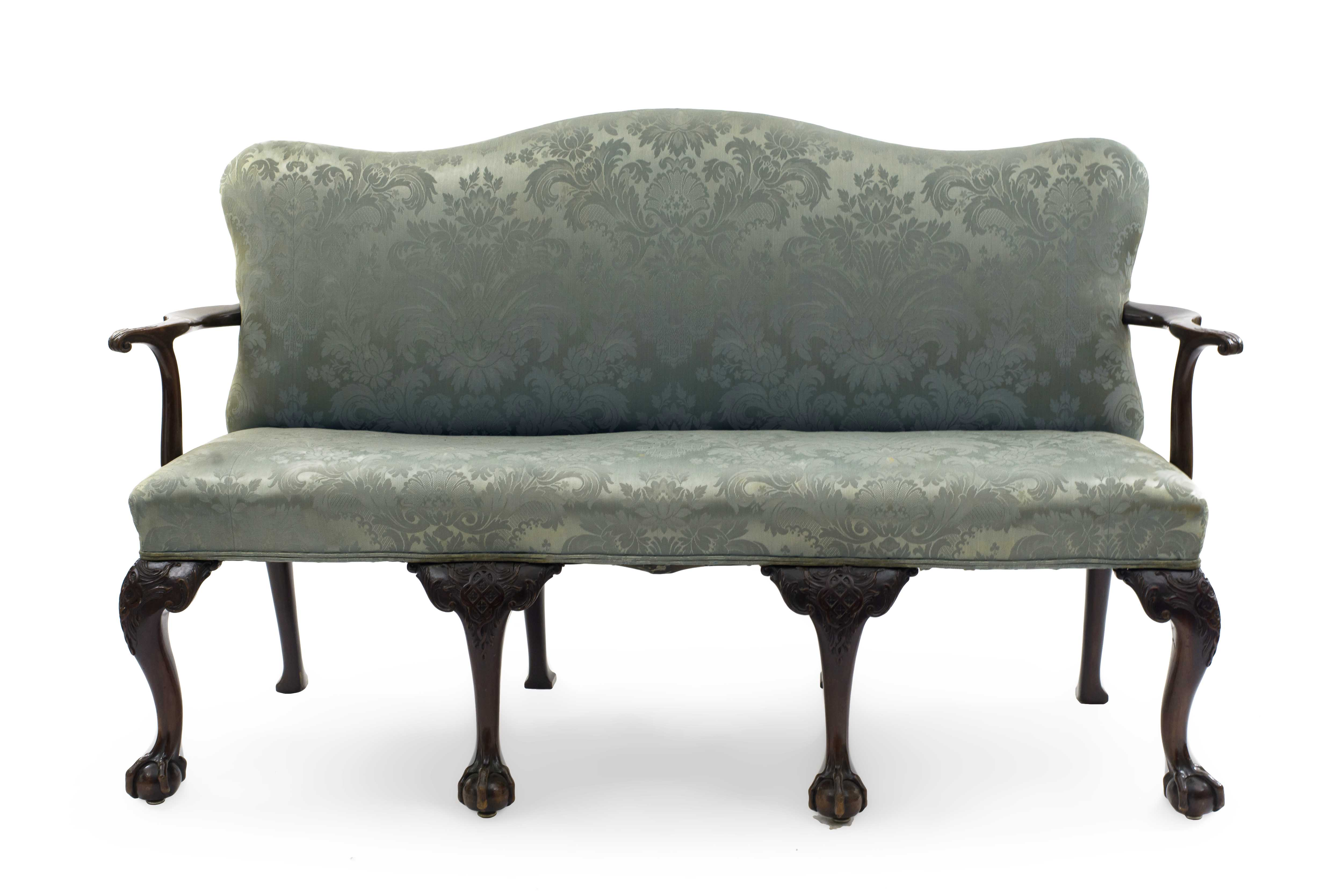 Outstanding English Chippendale Blue Damask Settee Newel Machost Co Dining Chair Design Ideas Machostcouk