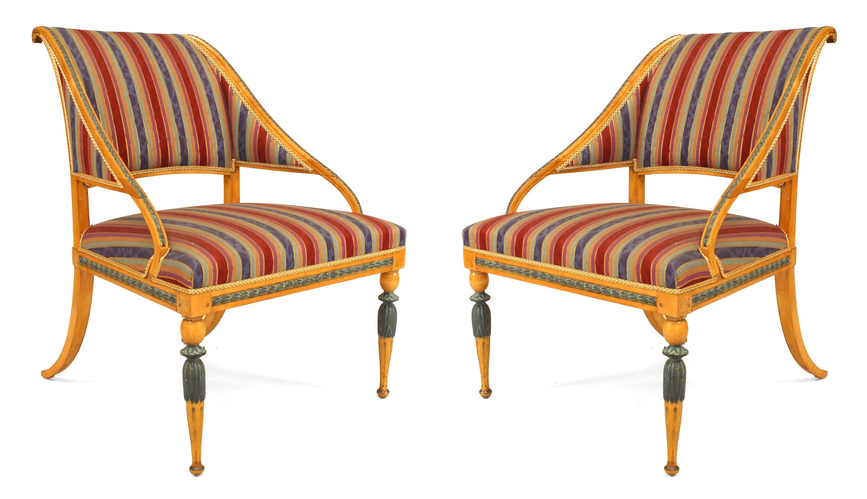 Swedish Neoclassic Striped Arm Chairs