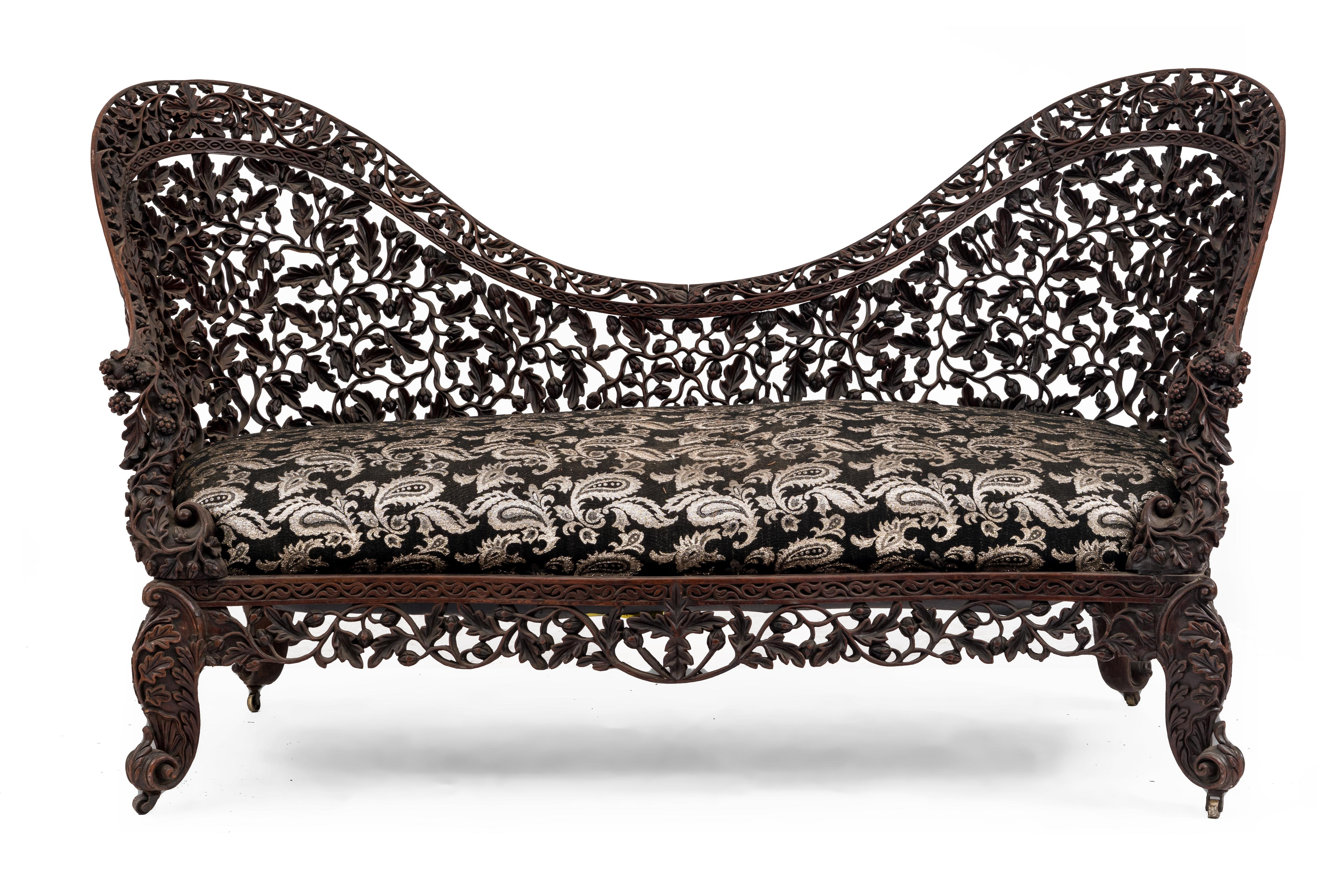 Admirable Asian Burmese Carved Rosewood Settee Newel Gmtry Best Dining Table And Chair Ideas Images Gmtryco