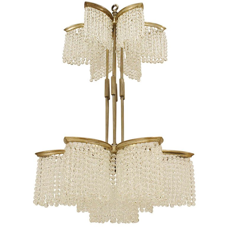 French art deco nickel plated double tier 6 sided star shaped chandelier embellished with crystal beaded glass strands french art deco nickel plated double tier 6 sided star shaped chandelier embellished with aloadofball Image collections