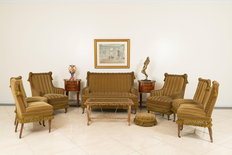 English victorian green velvet living room set | NEWEL