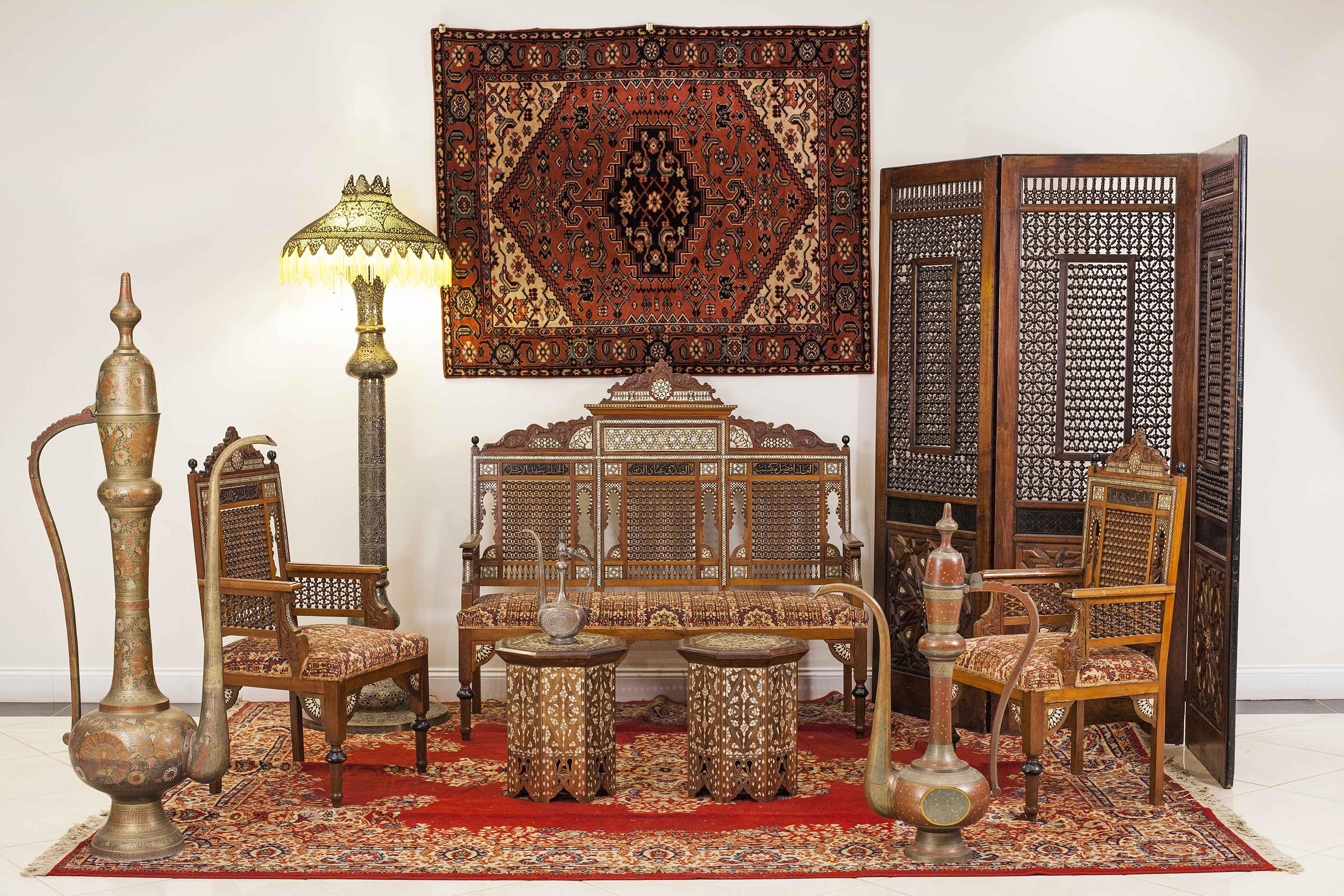 Moorish Walnut Living Room Set