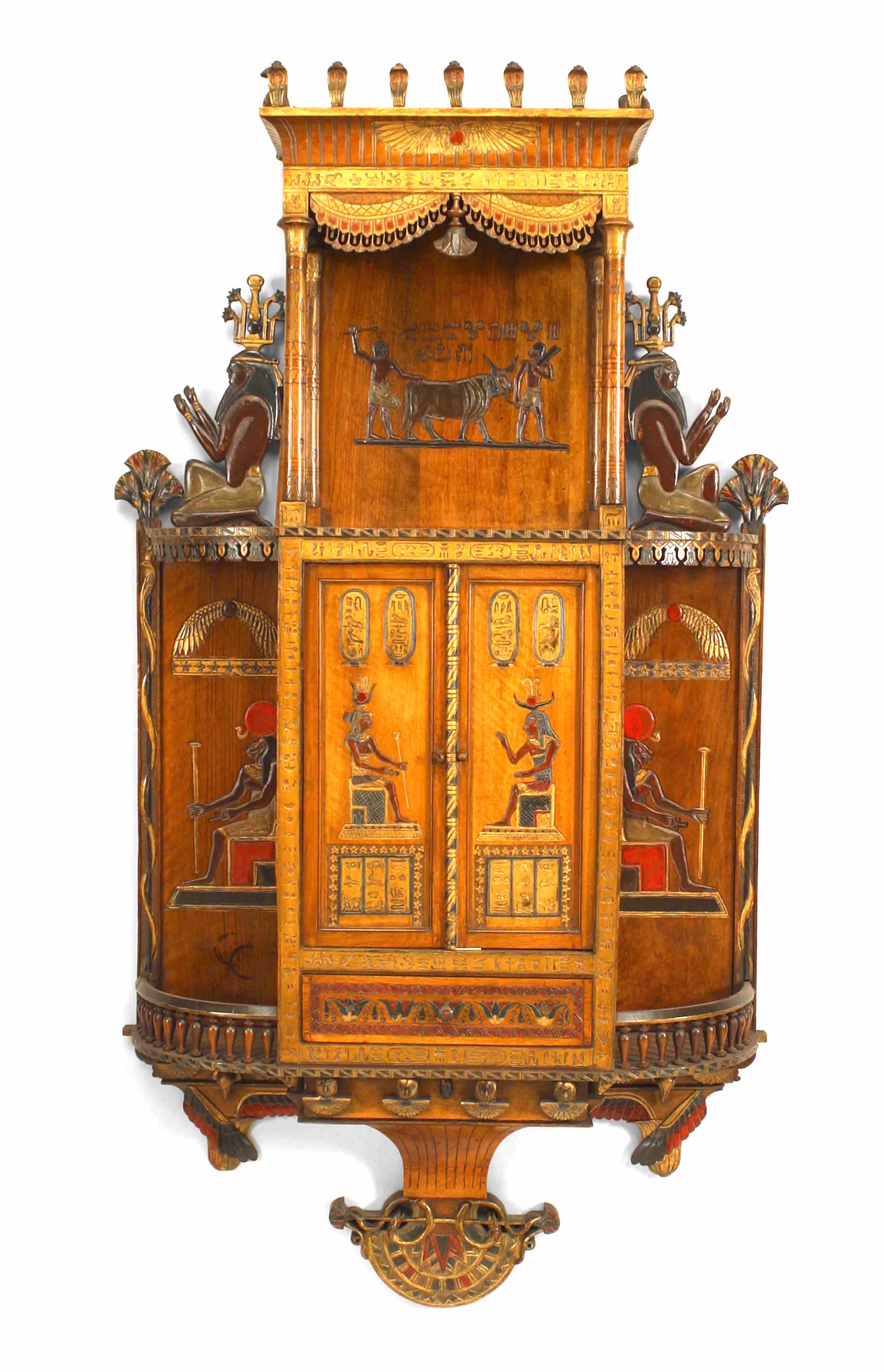 Egyptian Painted Hanging Wall Cabinet | NEWEL