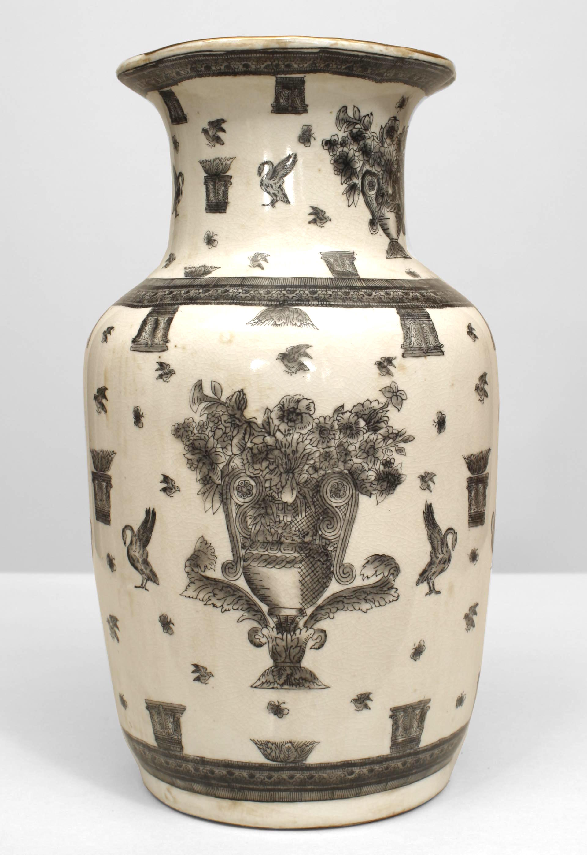 Pair of asian chinese style 19th cent white and black decorated butterflies pair of asian chinese style 19th cent white and black decorated vases with large urns filled with flowers along with birds and butterflies reviewsmspy