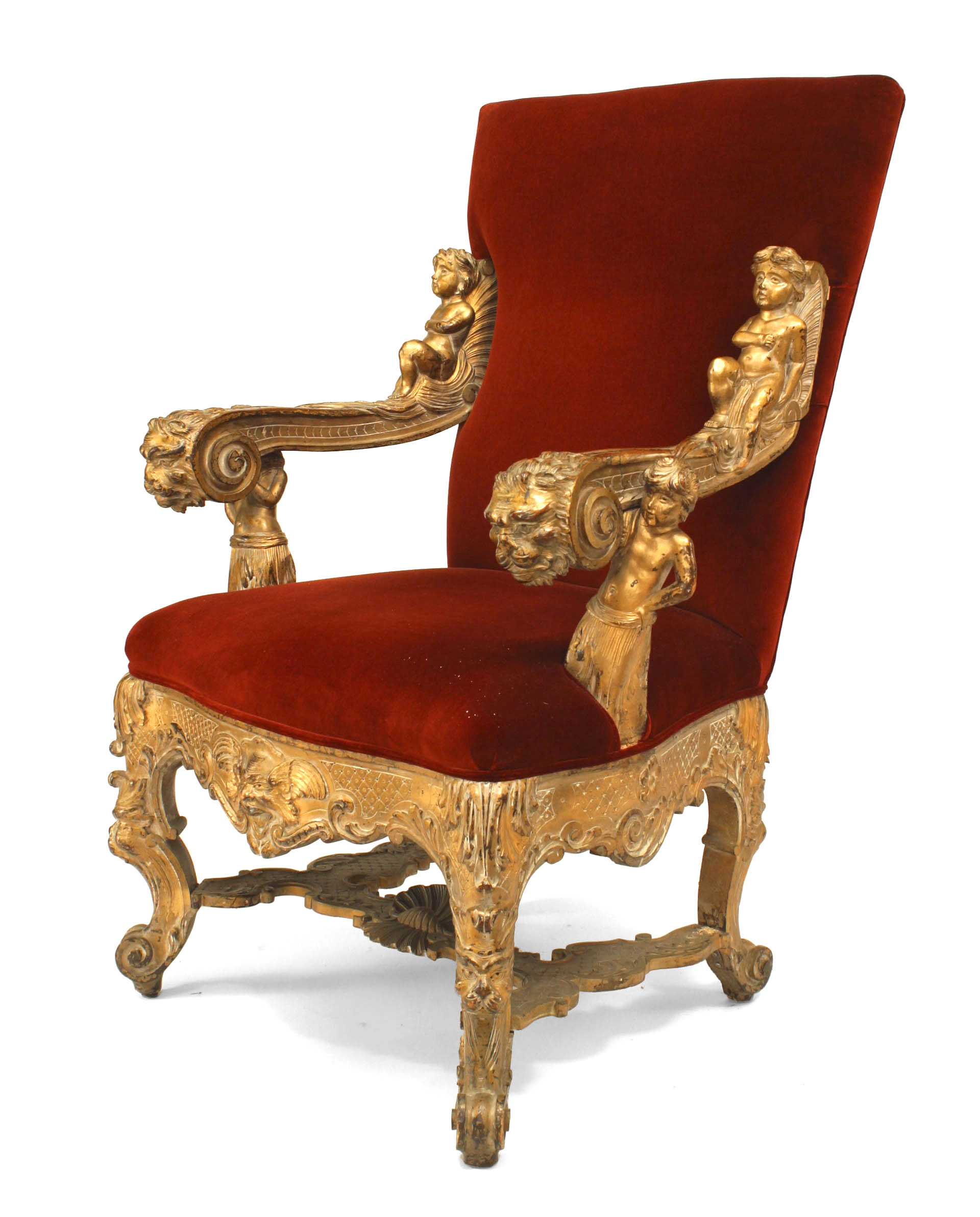 Fantastic Italian Rococo Red Velvet Throne Chair 1 Newel Bralicious Painted Fabric Chair Ideas Braliciousco