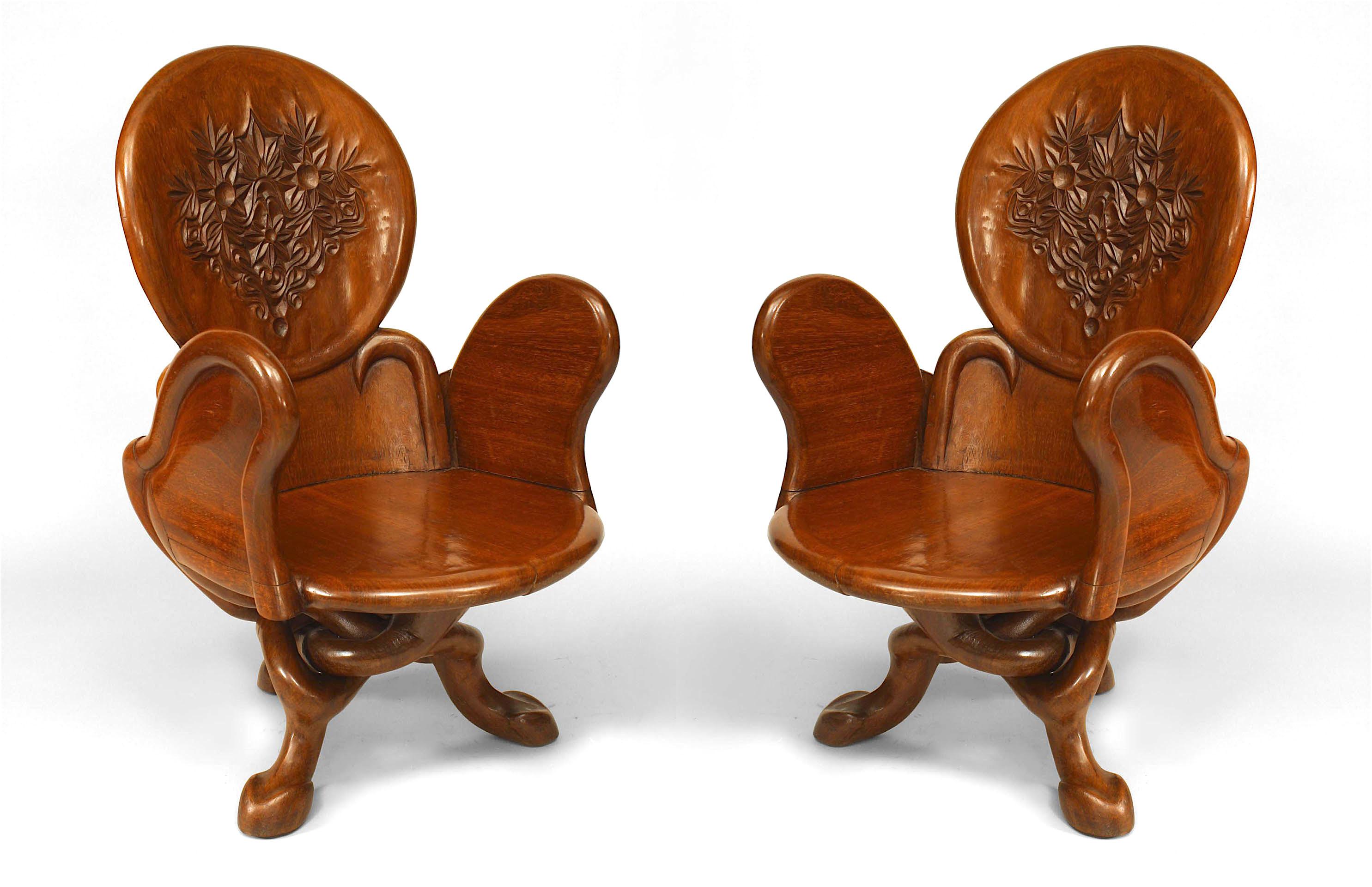 Chaise Style Art Nouveau art nouveau teak arm chairs 1