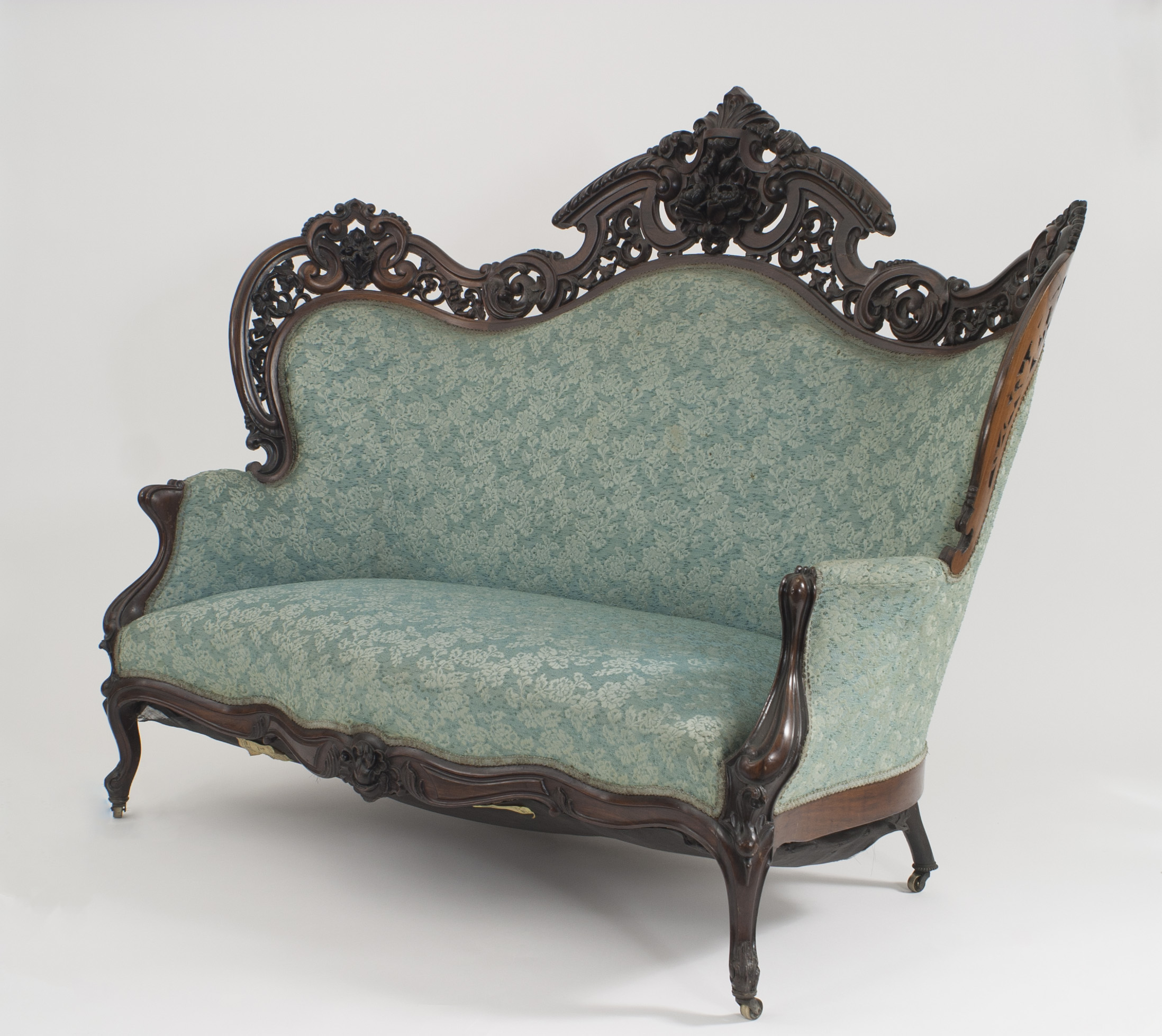and fauna pattern a blue mid pin upholstered this is century subtle gold loveseat in