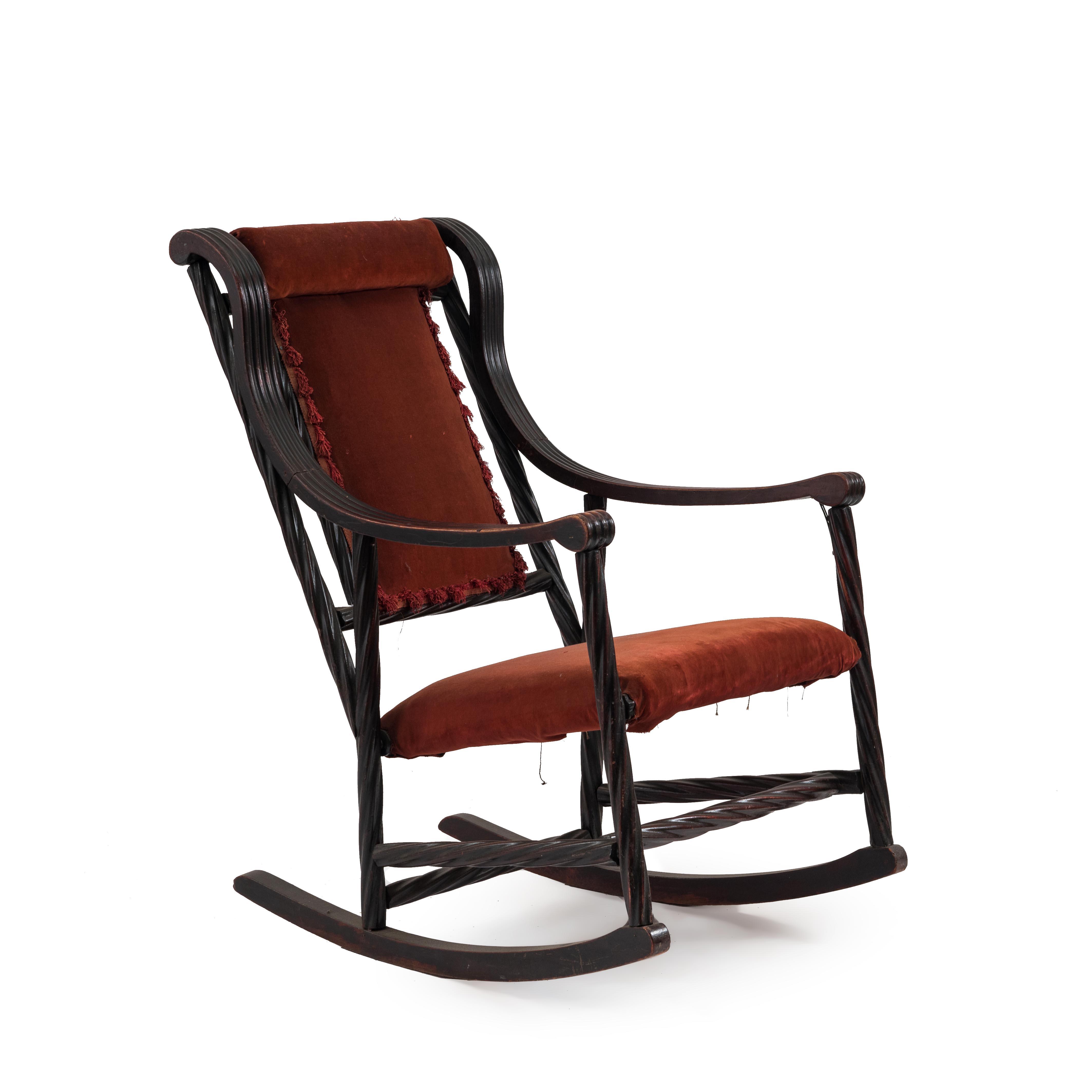 American Victorian Red Velvet Rocking Chair