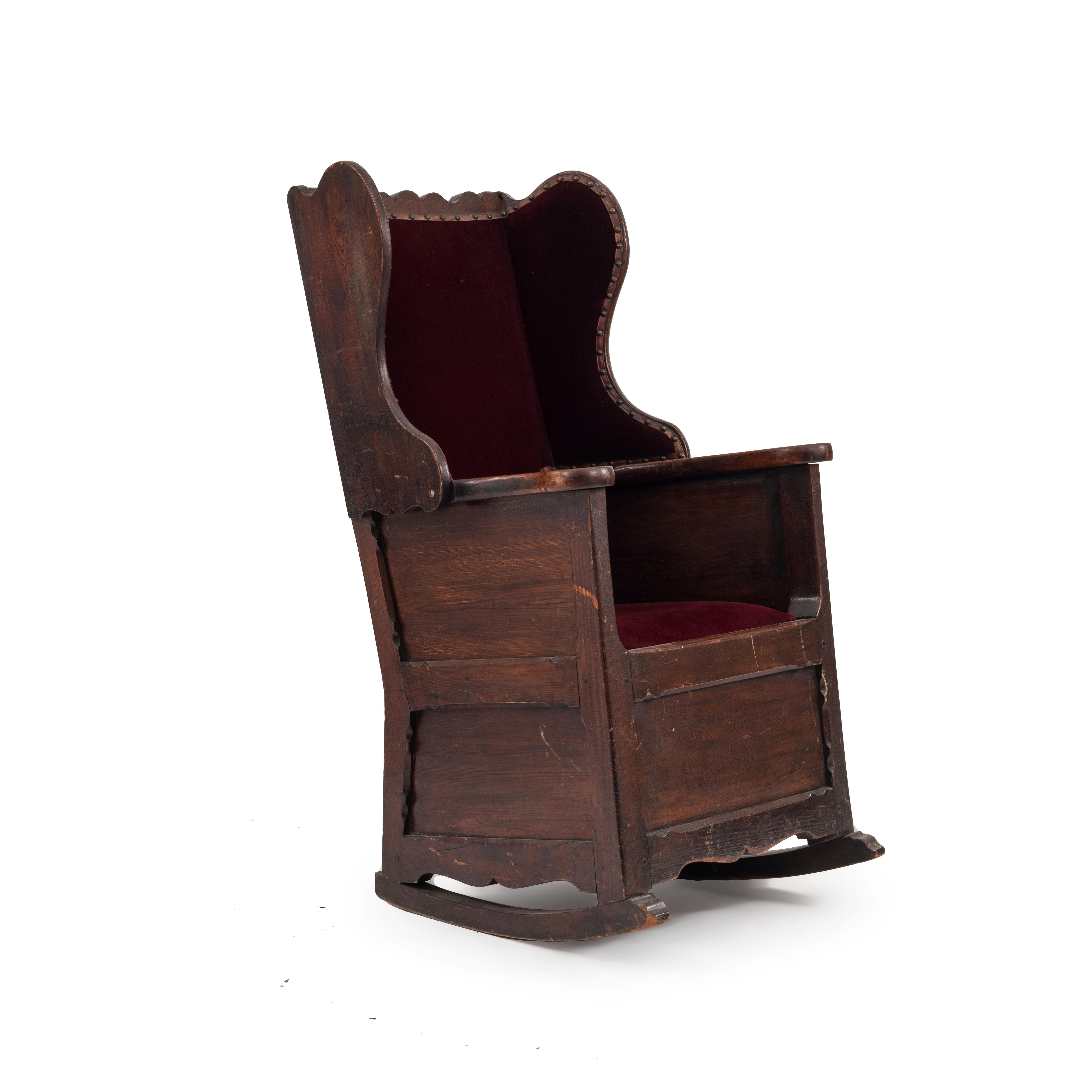 ... rocking chair -> pine in stock $ 9500.00 - English Country (18/19th Cent) Antique Winged Back Pine Rocking