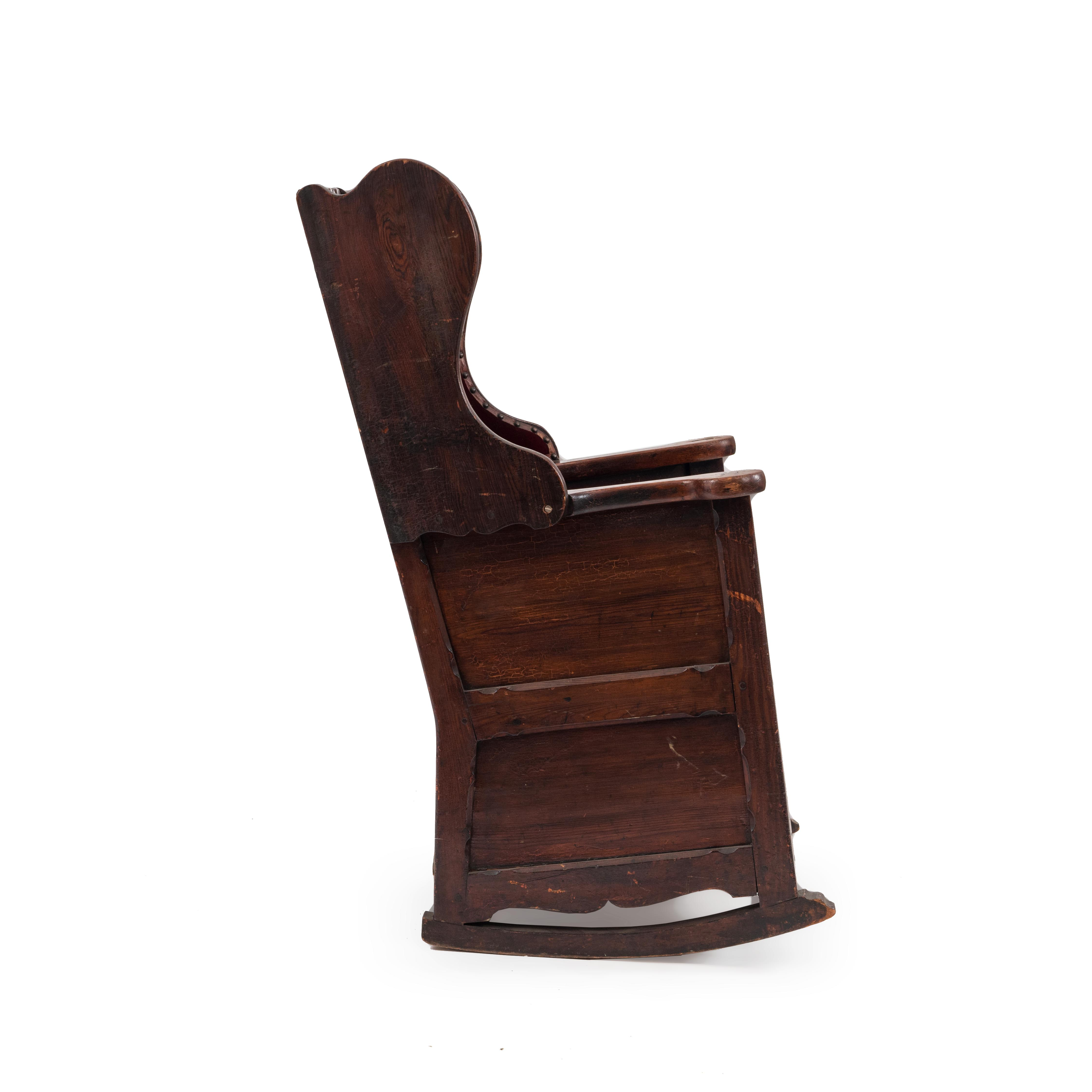 English Country (18/19th Cent) Antique Winged Back Pine Rocking Chair With  Scalloped Back And Red Velvet Upholstered Seat U0026 Back