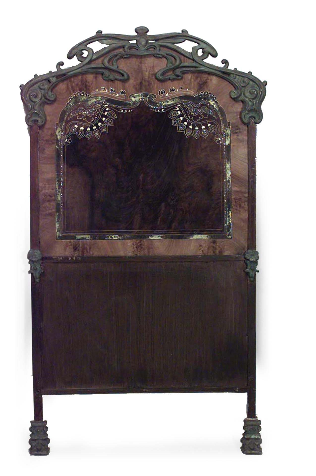 Pair Of French Art Nouveau Iron Twin Beds With Green